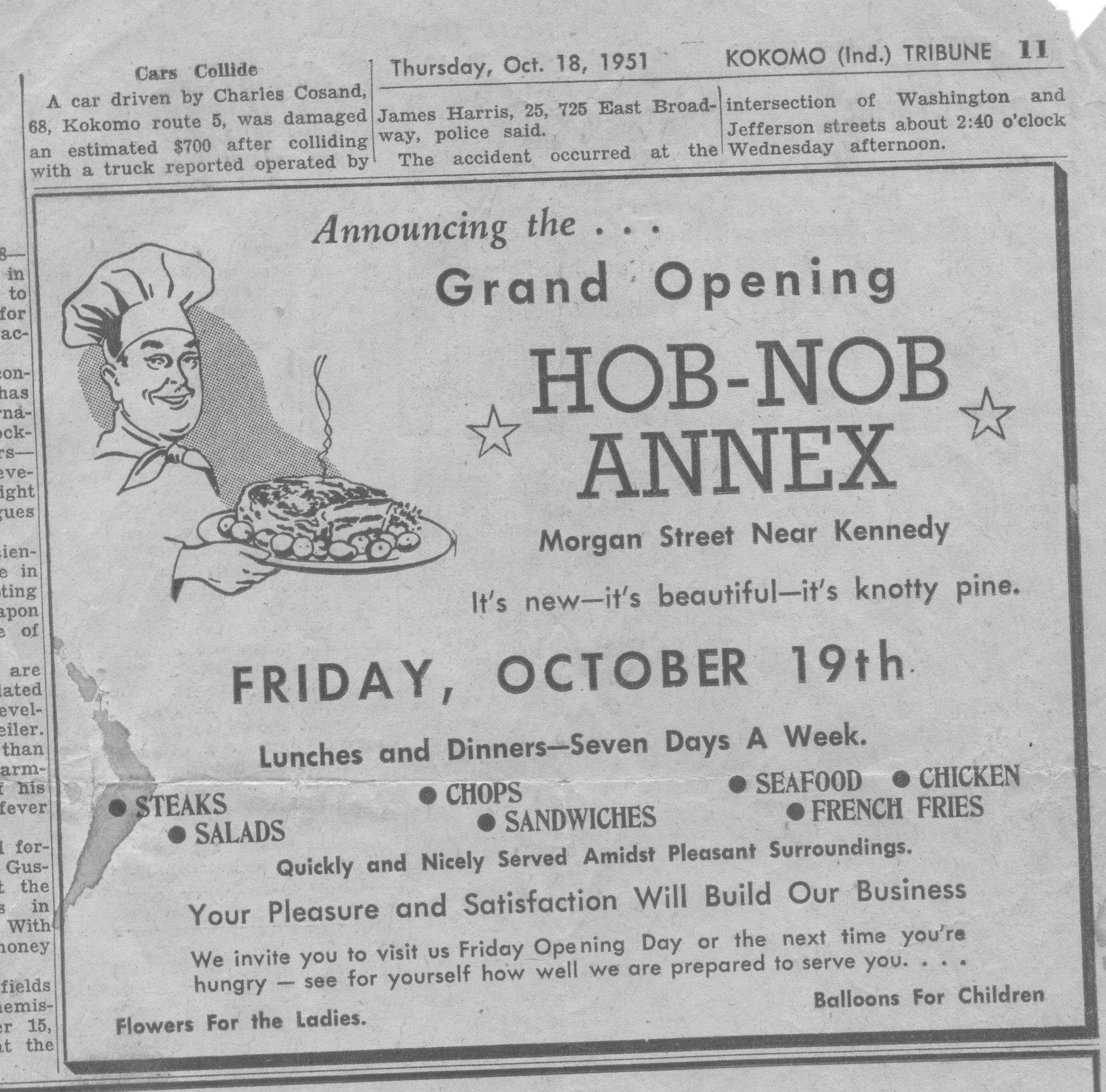 Hob Nob Annex Grand Opening Ad from Tribune 001
